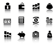 Black financial icons. Various financial icons with images of coins, banknotes, stock exchanges and other financial aspects Stock Images