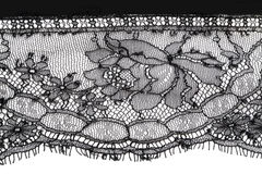 Black fine lace floral texture Royalty Free Stock Photo