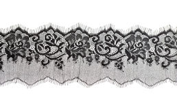 Black fine lace floral texture Stock Photography