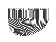 Black fingerprint with bar code. Barcode finger print logo. Vector illustration Royalty Free Stock Image