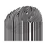 Black fingerprint with bar code. Barcode fingerprint. Vector fingerprint illustration Stock Photography