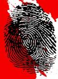 Black Fingerprint and blood splatter. Black fingerpinrt on a blood splattered background Stock Photos