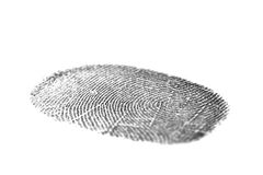 Black fingerprint isolated on white Stock Images