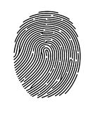 Black fingerprint shape, secure identification. Vector illustration. Black fingerprint shape, secure identification. Vector illustration Royalty Free Stock Photos