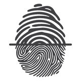 Black fingerprint system. Black fingerprint  on white background. Elements of identification systems, security conception, apps icons. Vector illustration Stock Photos