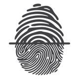 Black fingerprint system Stock Photos