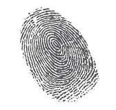 Black fingerprint on white. Black fingerprint isolated on white background Royalty Free Stock Photos