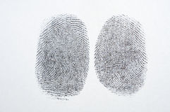 Black fingerprint on white paper. Background Royalty Free Stock Image