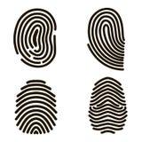 Black Fingerprints Set. Vector. Black Fingerprints Set Print for Identity Person Security ID. Vector illustration Royalty Free Stock Photography