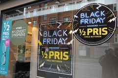 Black firday commrcial in window 50% discount sale royalty free stock photography