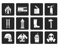 Black fire-brigade and fireman equipment icon. Vector icon set Stock Photos