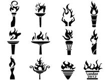 Black fire flame torch icons set. Isolated black fire flame torch icons set from white background stock illustration