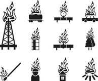 Black fire icon. Set of black fire icon Stock Photography
