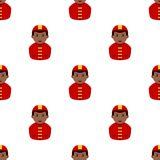 Black Firefighter Avatar Seamless Pattern. A seamless pattern with a afro american fireman with red uniform and hat, isolated on white background. Useful also as Stock Photography