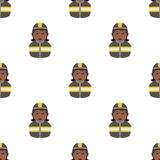 Black Fireman Woman Seamless Pattern. A seamless pattern with a afro american woman firefighter with gray uniform and hat, isolated on white background. Useful Stock Image