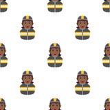 Black Fireman Woman Seamless Pattern Stock Image