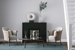 Black fireplace in new living room with chairs 3d render. Black fireplace in new living room with chairs Stock Images