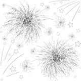 Black firework sketch on white background. Black firework sketch with stars on white background. Vector paper illustration Stock Image