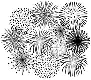Black fireworks Stock Images