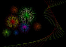 Black Fireworks. Colored fireworks with iridescent lines on the black background Stock Images