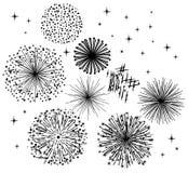 Black Fireworks. Vector black fireworks on white background Royalty Free Stock Image