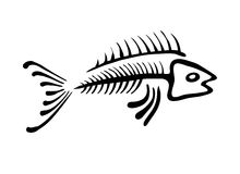 Black fish bone, vector illustration. Ethno style Stock Photo