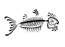 Black fish bone, vector illustration Royalty Free Stock Photo