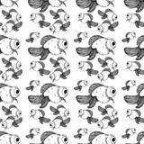 Black fish gold line pattern on white background royalty free illustration