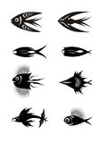 Black fish icons Stock Photos