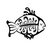 Black fish in the native style, vector. Illustration Royalty Free Stock Images