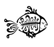 Black fish in the native style, vector. Illustration Royalty Free Stock Image