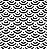 Black fish scale background of concentric circles. Abstract seamless pattern looks like sea waves. Vector illustration Royalty Free Stock Photography