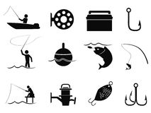 Black fishing icons set Royalty Free Stock Photos
