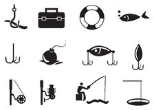 Black Fishing Icons on White Background. Vector illustration of isolated fishing icons on white background Royalty Free Stock Image