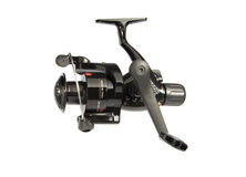 Black fishing reel Stock Photo