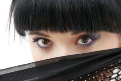 Black fishnet mystery #2. Portrait of oriental girl with black fishnet cloth stock photos