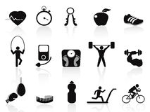 Black fitness icons set Stock Images