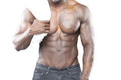 Black fitness model in jeans Royalty Free Stock Images