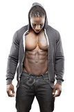 Black fitness model in jeans Stock Photography