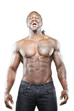 Black fitness model in jeans Royalty Free Stock Photography