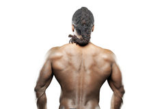 Black fitness model in jeans Royalty Free Stock Image