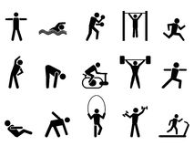 Black fitness people icons set. Isolated black fitness people icons set from white background Stock Photo