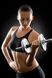 Black fitness woman young sport weights exercise Stock Photography