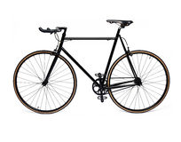 Black fixed gear bicycle Stock Photo