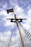 Black flag in a ship mast Royalty Free Stock Photography