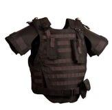 Black flak jacket. Isolated on white Stock Images