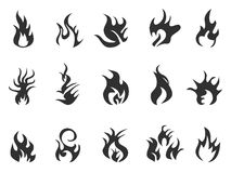 Black flame icon. Abstract black flame icon on white background Royalty Free Stock Photos