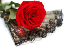Black flamenco fan and red rose Royalty Free Stock Photos