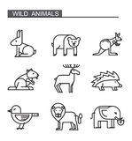 Black flat animal. Vector black flat animal icons on white Royalty Free Stock Image