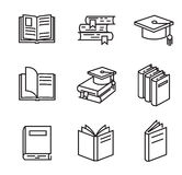 Black flat book. Vector black flat book icons on white Stock Photos
